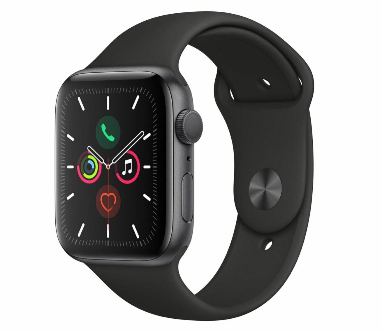 Apple Watch Series 5, 44mm, Aluminiumgehäuse spacegrau, Sportarmband schwarz
