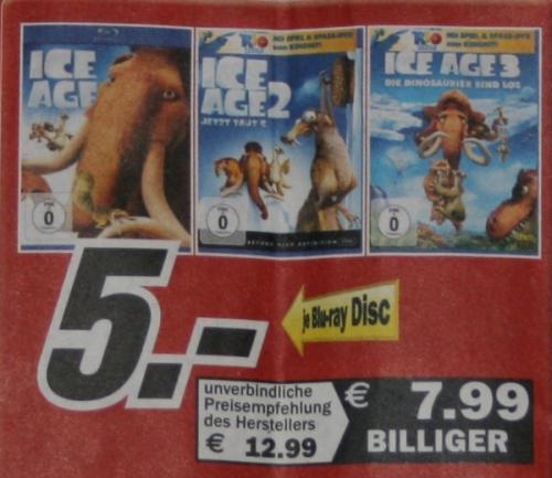 [regional] Ice Age 1 - 3 auf Blu-ray @MM Aachen, Eschweiler, Herzogenrath und Hückelhoven für je 5 Euro