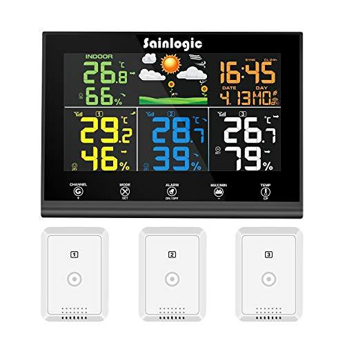 Funk Wetterstation mit 3 Außensensoren von Sainlogic (Amazon)