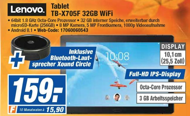 "[Expert Technikmärkte] Lenovo Tab P10 10.1"" Tablet (32GB, 3GB RAM, Android 9, Fingerpr.) + Odys Xound Circle für 162,99€ mit Versand"