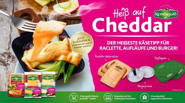 GRATIS Prämie (Burgerpresse /Raclettuntersetzer/ 2er Set Topflappen) bei Kauf von 3 Packungen Kerrygold Käse