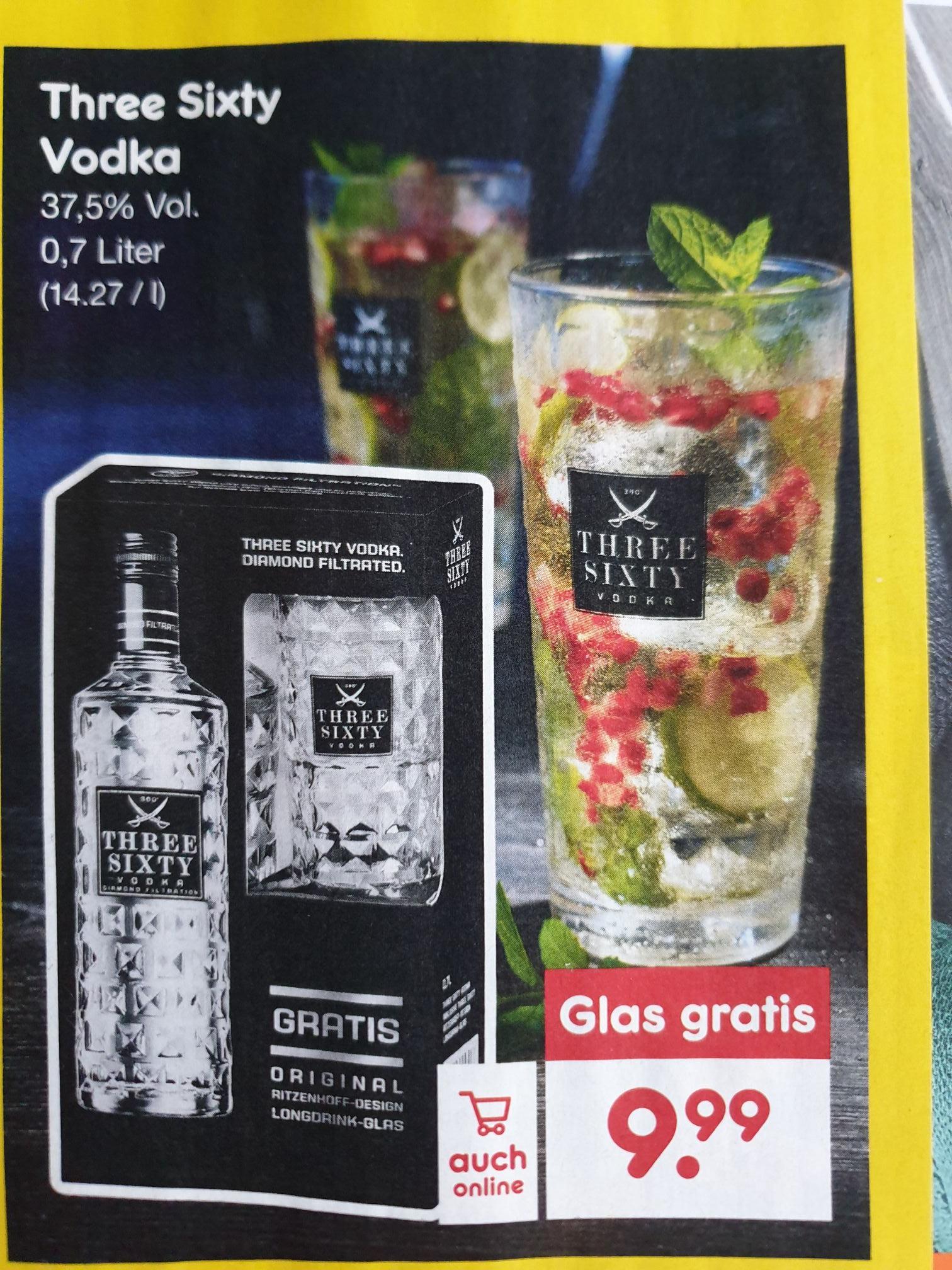 (Netto MD) Three Sixty Vodka 0,7l /37,5% mit Glas für 9,99€ / 8,49€ mit Coupon + 10-fach DC-Punkte (auch online)