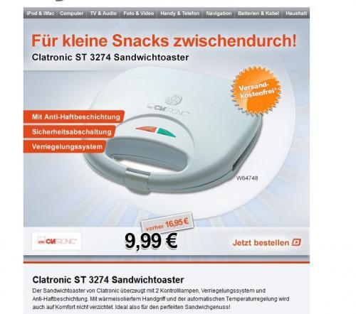 [Digitalo] Clatronic ST 3274 Sandwichtoaster für 9,99€ inkl. Versand + Qipu