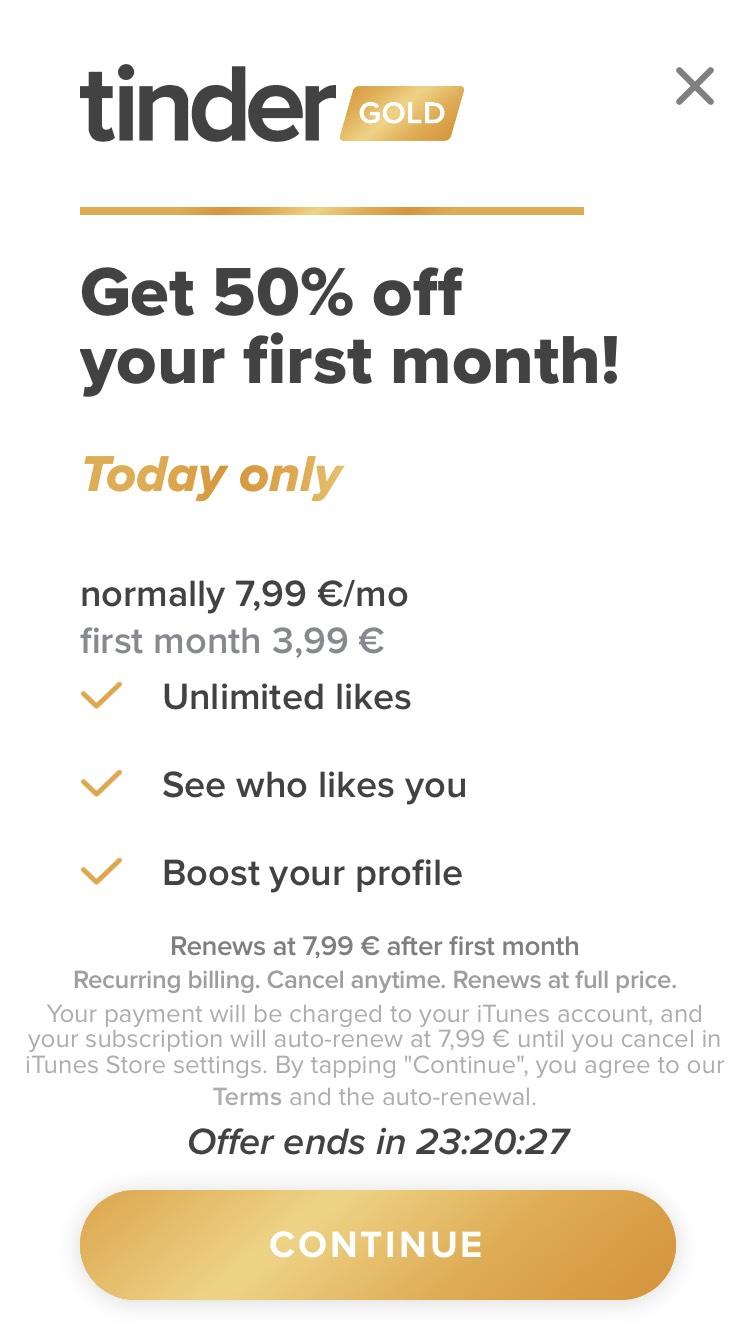 1 Monat Tinder Gold 50% Rabatt (unter 28 Jahre)