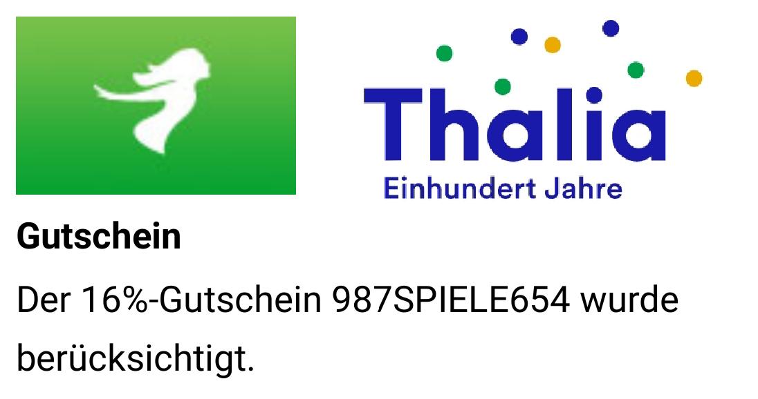 Thalia Gutschein 16% auf Spielwaren außer T*nies