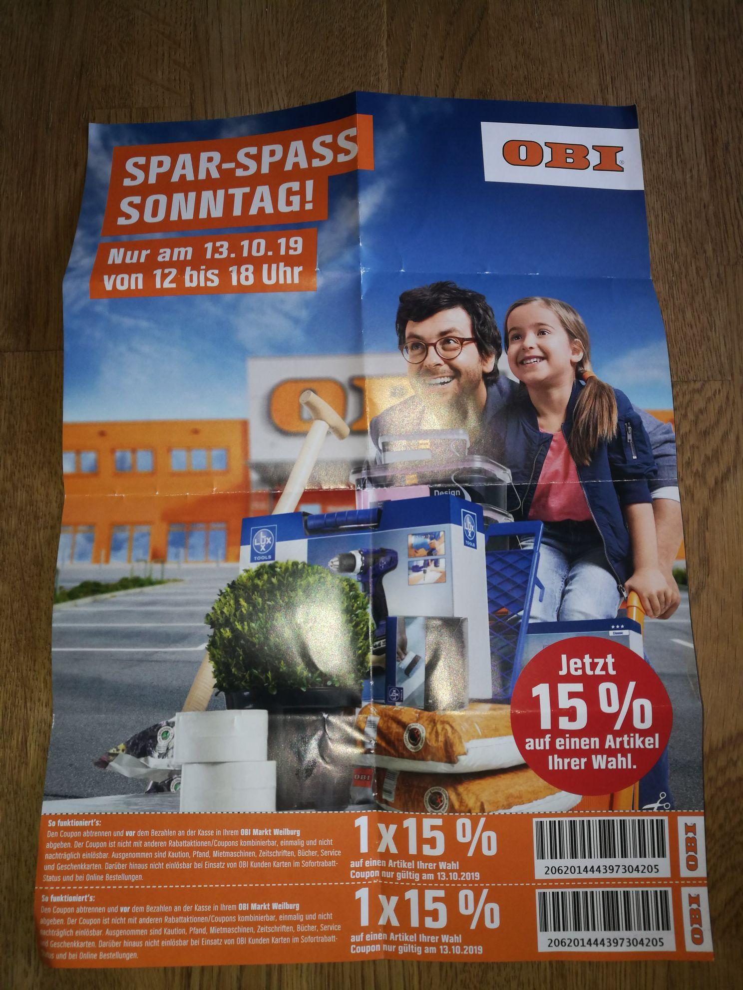 Lokal Weilburg, Obi, am Montag, 14.10. 2 x 15% auf je einen Artikel