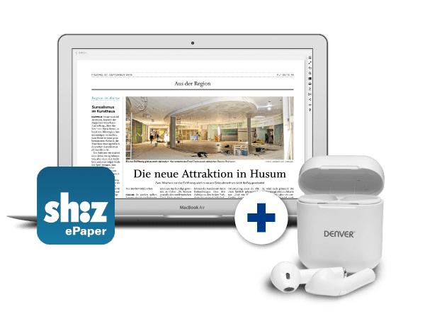 [shz.de] 4 Wochen digitale sh:z Tageszeitungen + kostenlose Denver Earbuds