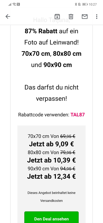 Lieblingsfoto.de 87% Rabatt auf 70*70,80*80 und 90*90 Leinwand