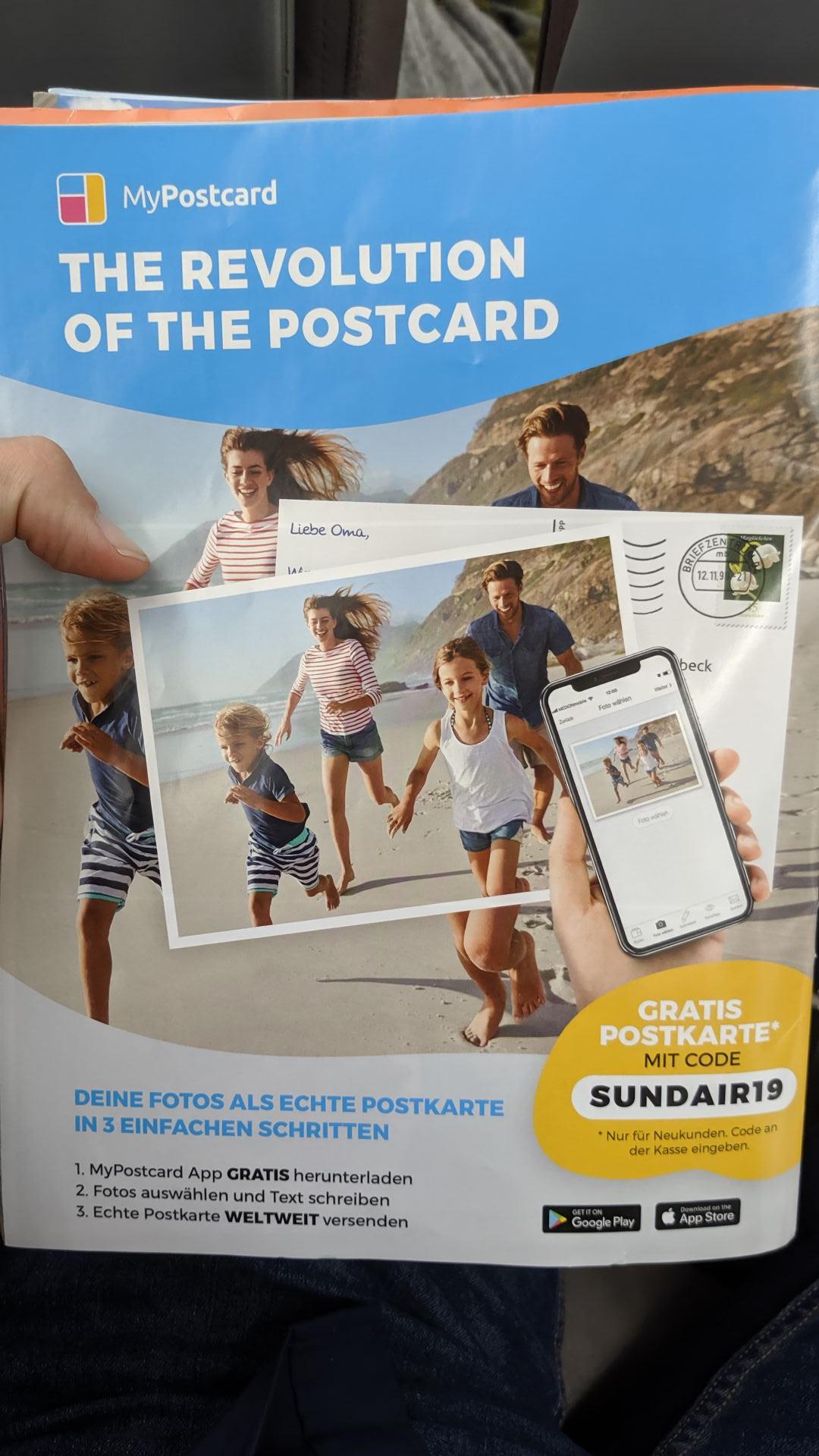 """Gratis Postkarte mit Gutscheincode bei MyPostcard versenden (für """"Neukunden"""")"""