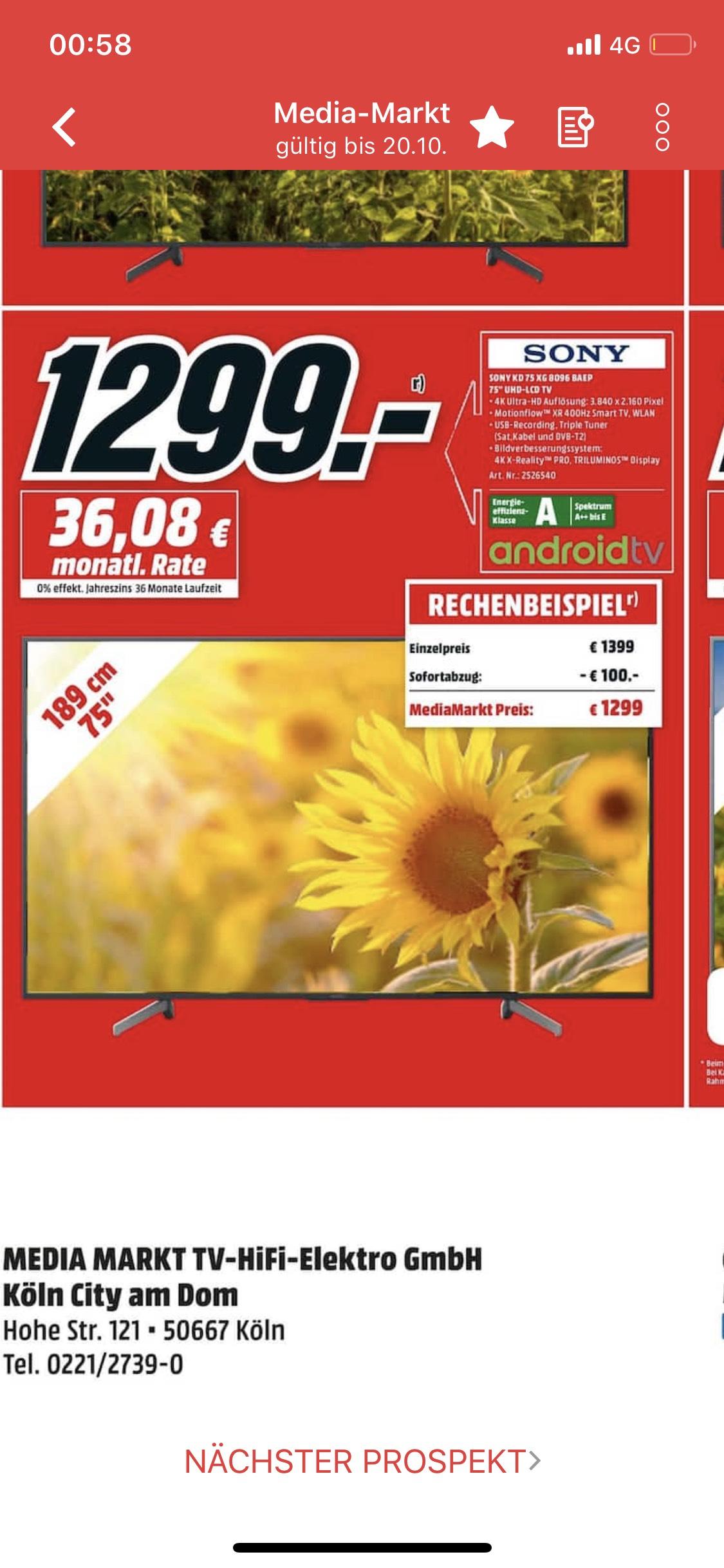 (LOKAL KÖLN) Sony KD-75XG8096 Fernseher für 1299 € im Media Markt Köln City