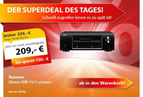 Denon AVR-1513 5.1-Kanal A/V-Receiver mit 3D @ technikdirekt für 209 Euro !