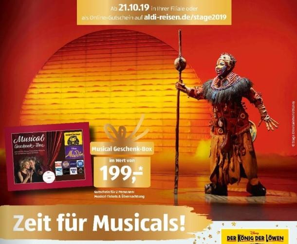 aldi süd - Gutschein für verschiedene Musicals für 2 Personen inkl. Übernachtung zu 199€ ab 21.10.