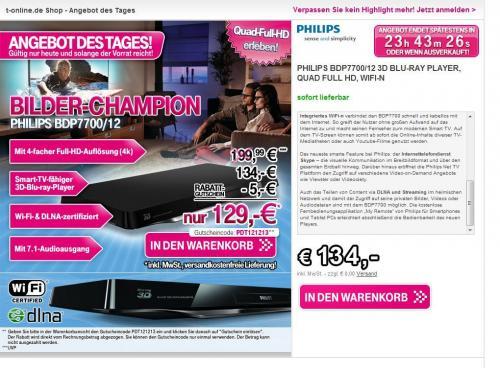 [T-Online] Philips BDP7700/12 3D Blu-ray Player für 129€ + Qipu