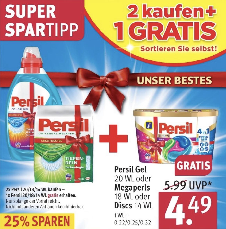 3 Packungen PERSIL Megaperls, Gel o. Discs für 8,08€ = 2,69€ je Packung! - ab 21.10. - oder Spee / Weißer Riese für 1,73€ je Packung