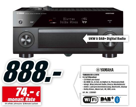 [Regional Mediamarkt Berlin/Brandenburg-Alle 19 Filialen ab16.10] Yamaha RX-A2070 AV-Receiver 9.2 Kanal titan für 888,-€