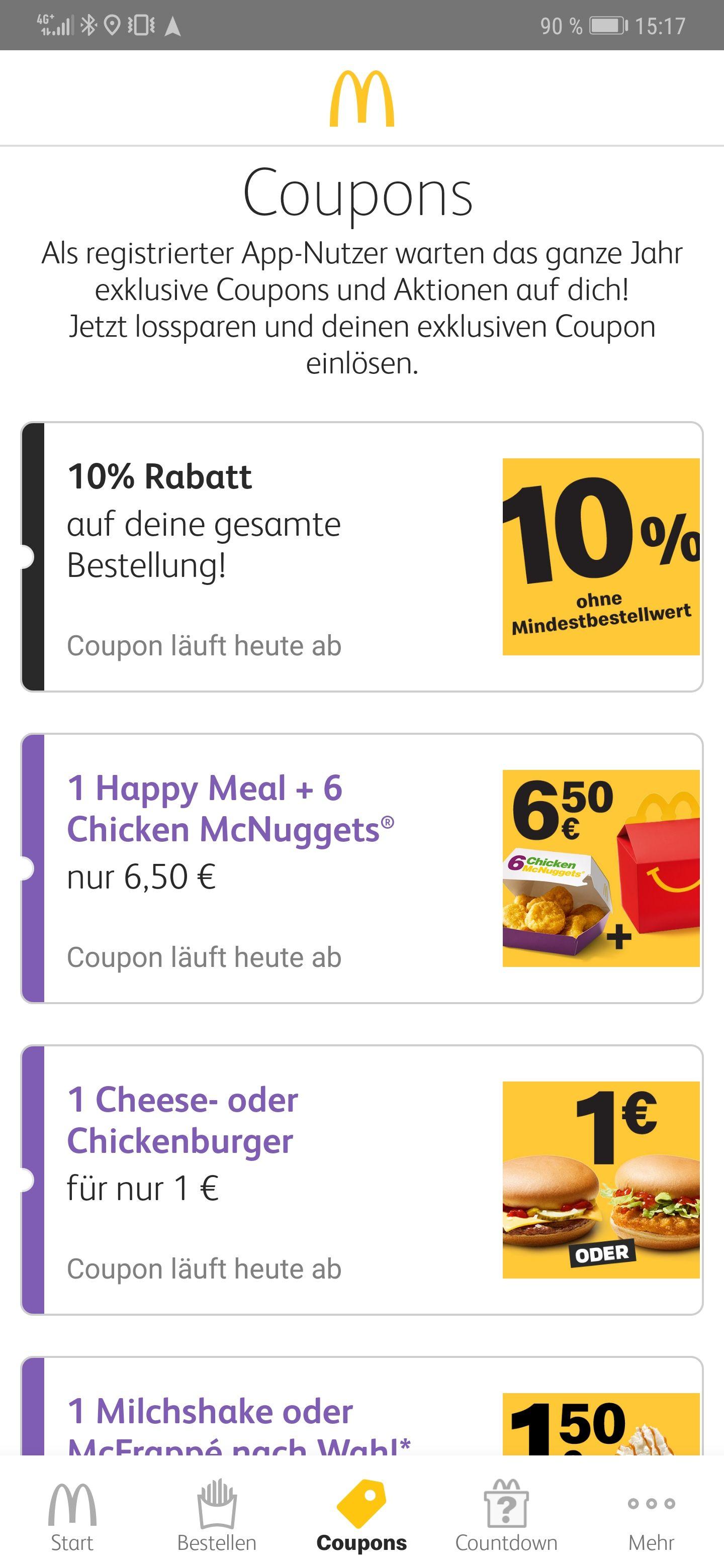 10% auf Alles bei McDonald's