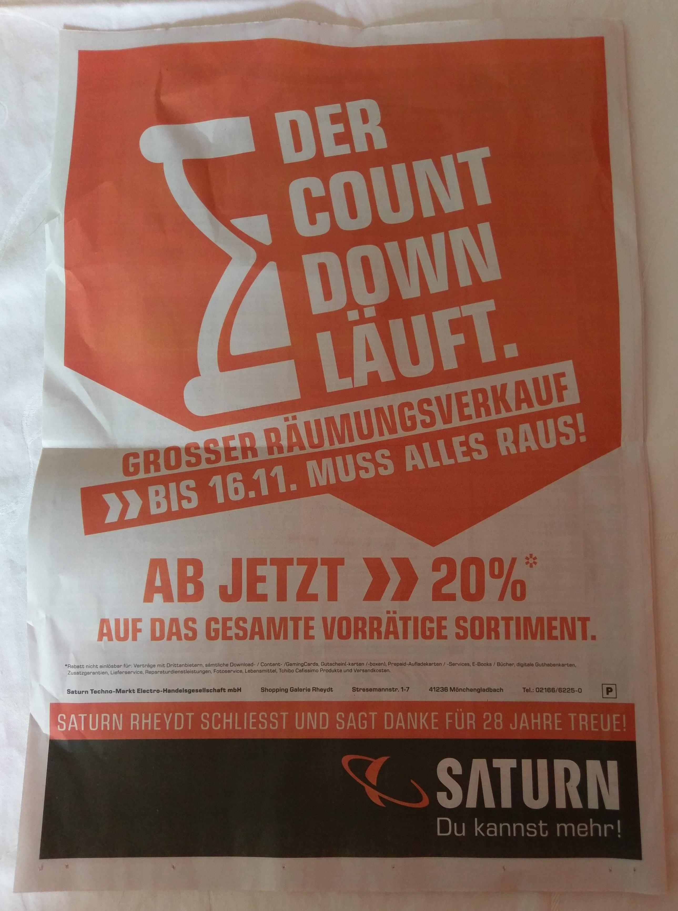 (LOKAL) *UPDATE* Räumungsverkauf SATURN Mönchengladbach-Rheydt - 20% ab sofort auf das gesamte Sortiment