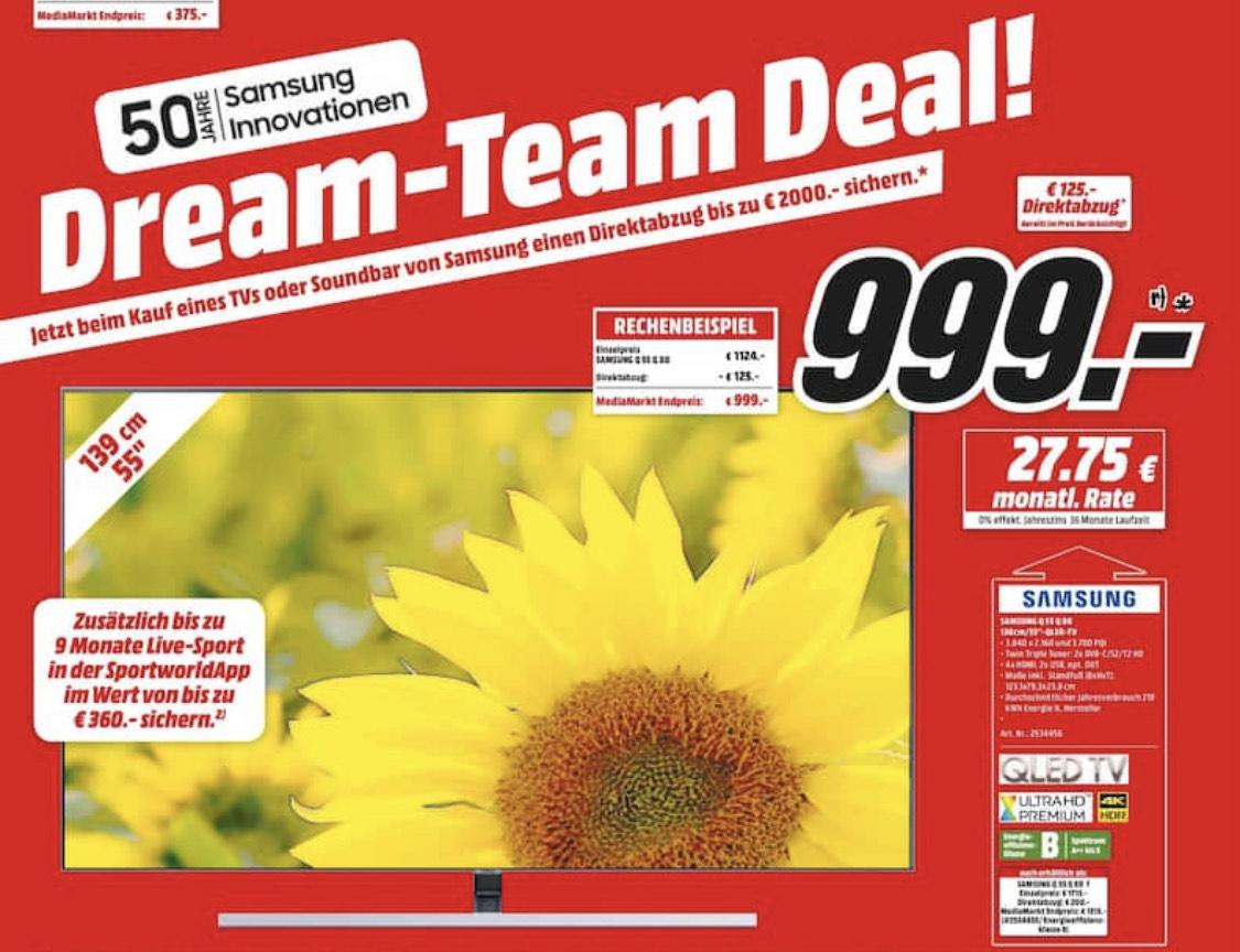 SAMSUNG QLED-TV GQ55Q80RGTXZG (MediaMarkt Dortmund) für 999€