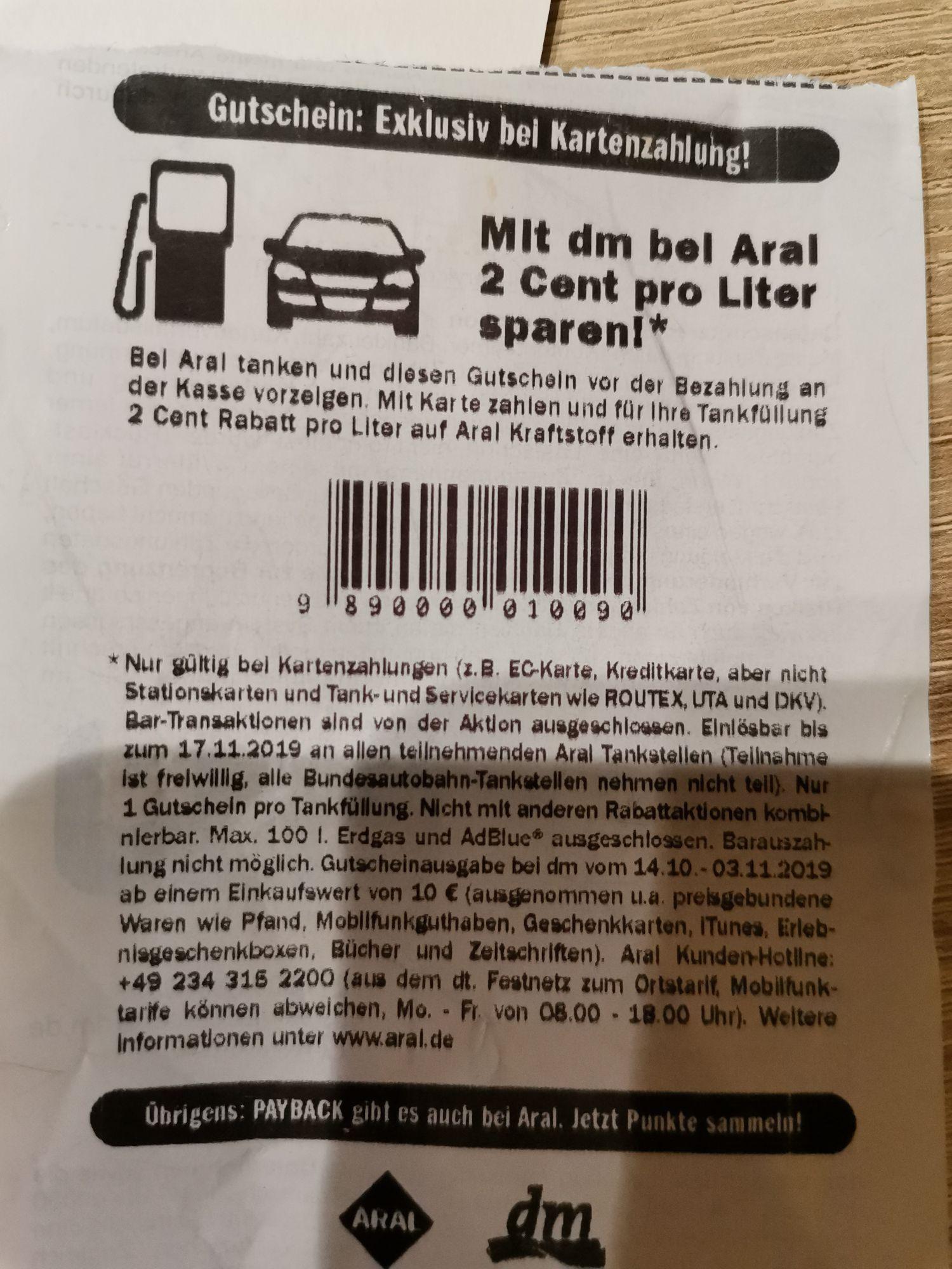 2 Cent Rabatt je Liter - Aral