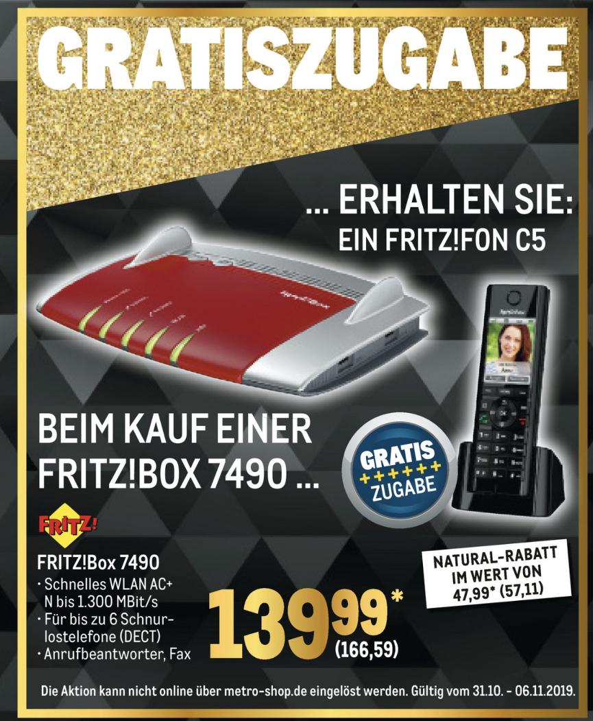 AVM FritzBox 7490 + AVM FRITZFon C5 für zusammen 166,59€ - mit Newsletter-GS für 156,59€ möglich - [Metro] [Gewerbe o. Verein erforderlich]