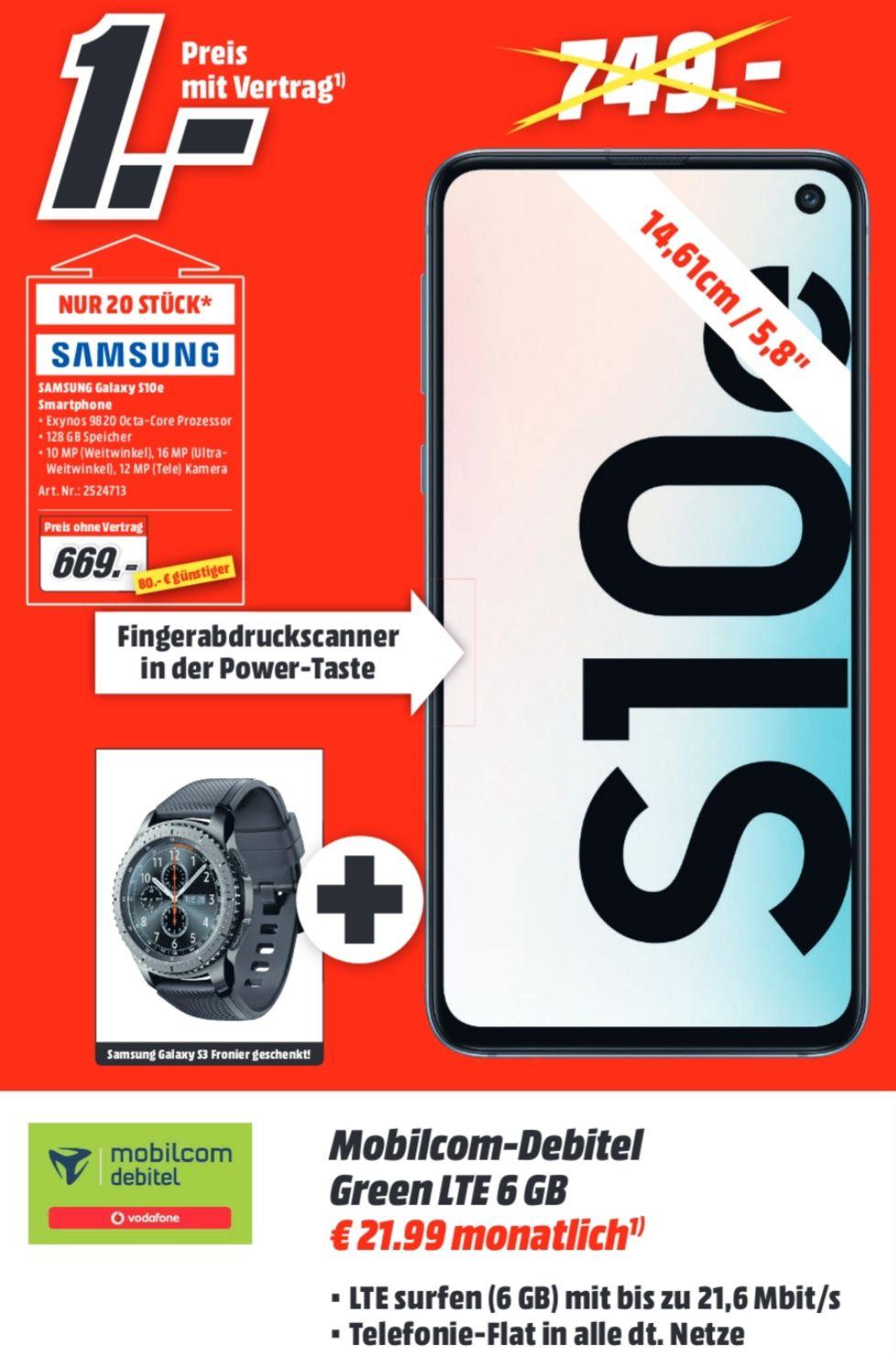 [Lokal Kaiserslautern] Samsung Galaxy S10e und Gear S3 Frontier im Debitel Vodafone (6GB LTE, Allnet) mtl. 21,99€