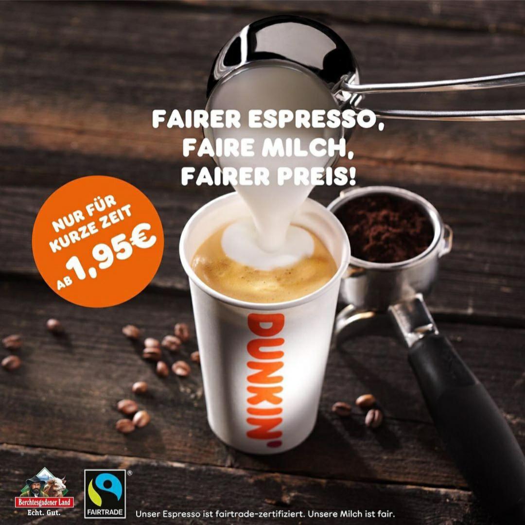 Dunkin' Donuts: Mittlerer Americano, Cappuccino, Caffè Latte oder Latte Macchiato für nur 1,95€ statt 3,85€