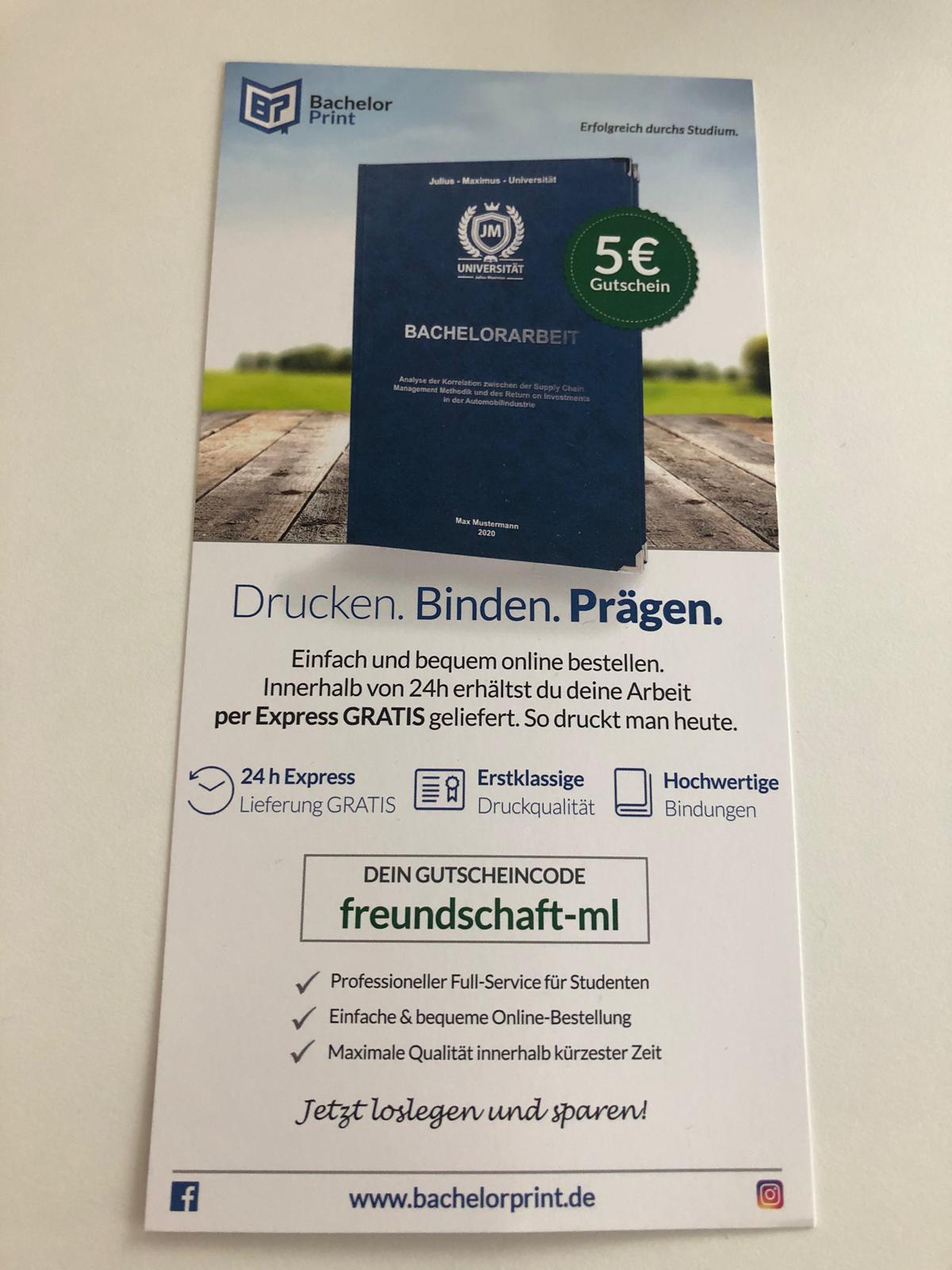 5 Euro Bachelorprint.de Gutschein