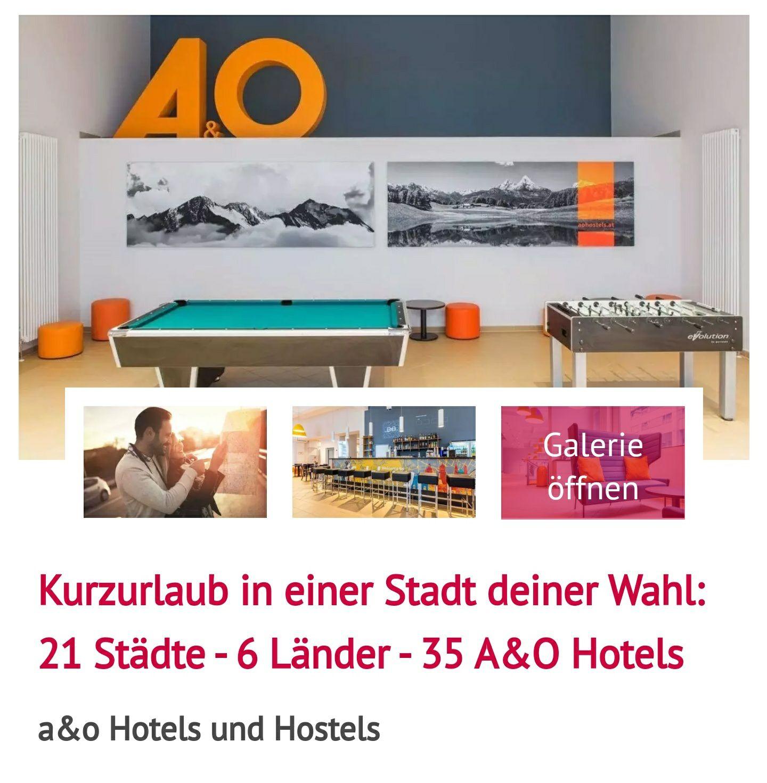 2 Übernachtungen oder mehr im DZ für 2 Personen in einem A&O Hostel