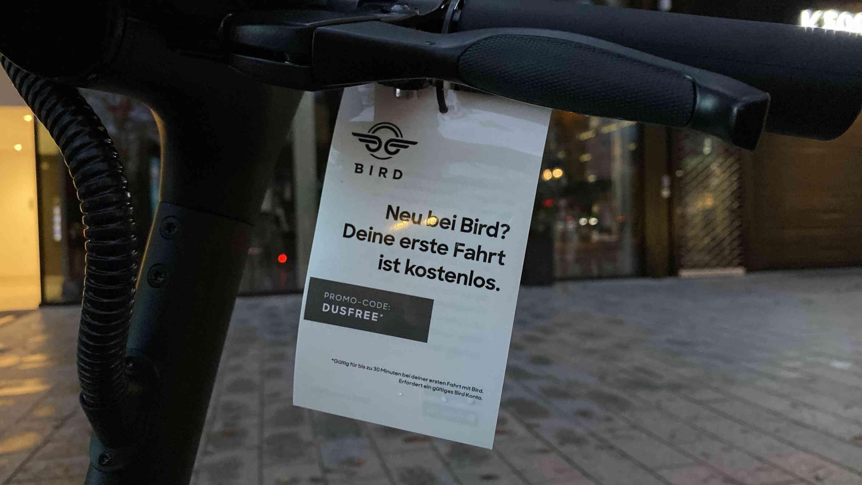 [lokal] Bird e-Scooter Freifahrt für Neukunden (7€ Wert = 30 Minuten)