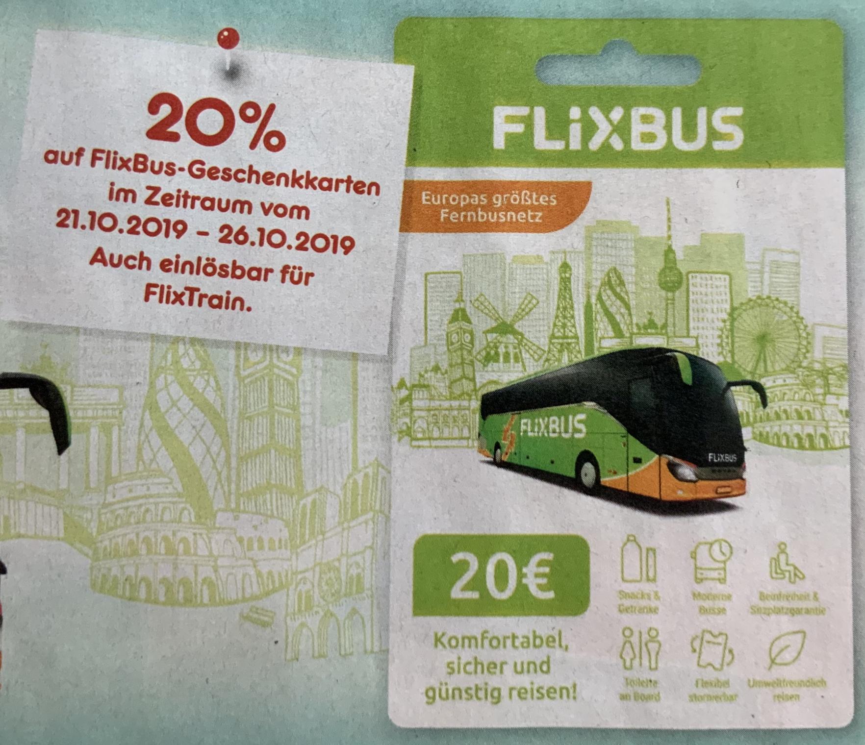 20% Rabatt auf FlixBus Geschenkkarten auch für FlixTrain einlösbar  [Netto Marken-Discount] - ab 21.10.