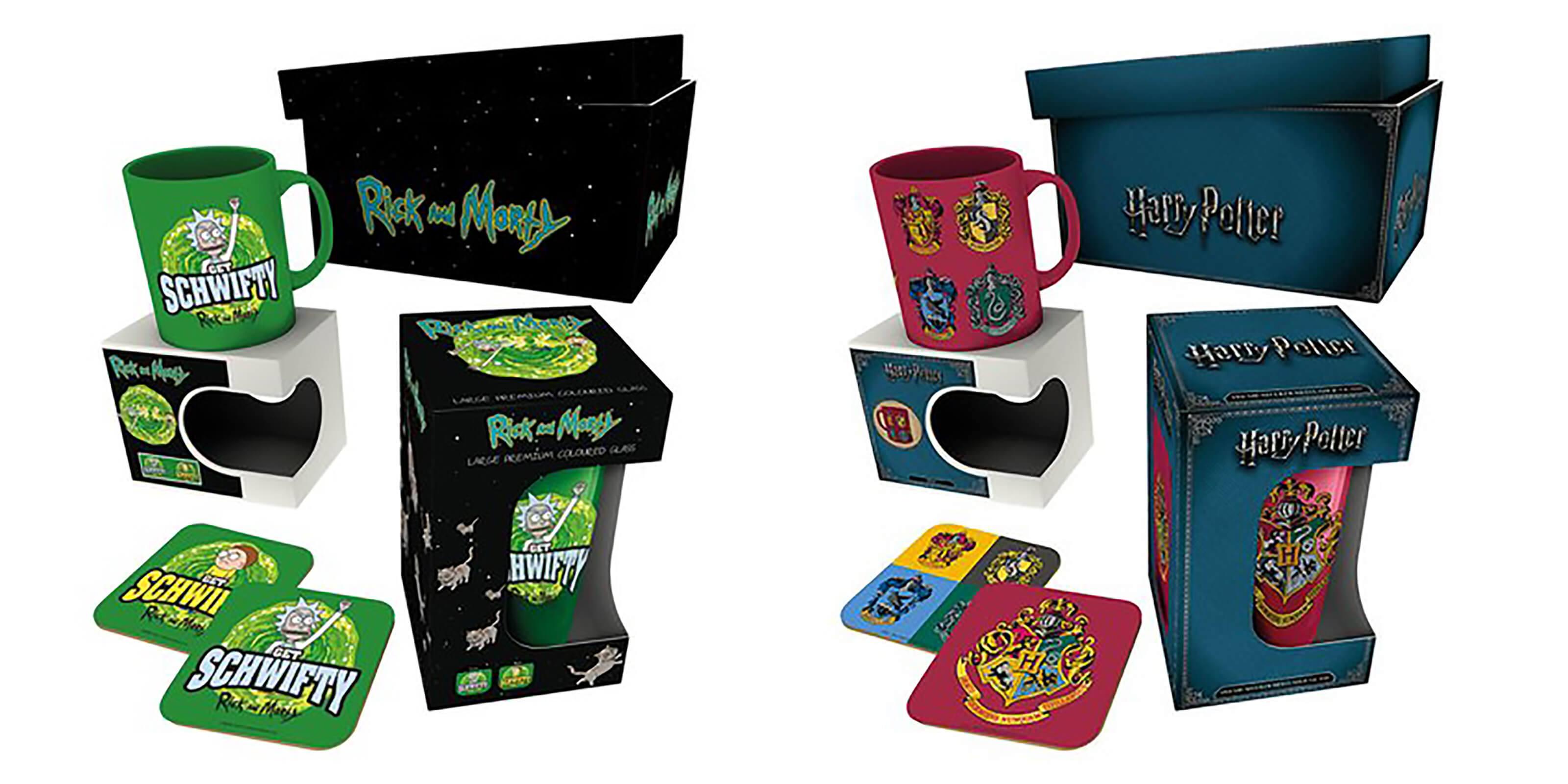 Merch-Geschenkbox für 11,99€ oder 2 für 18,99€, z.B. Rick and Morty oder Harry Potter (Box mit Aufdruck, Bierglas, Tasse, 2 Untersetzer)