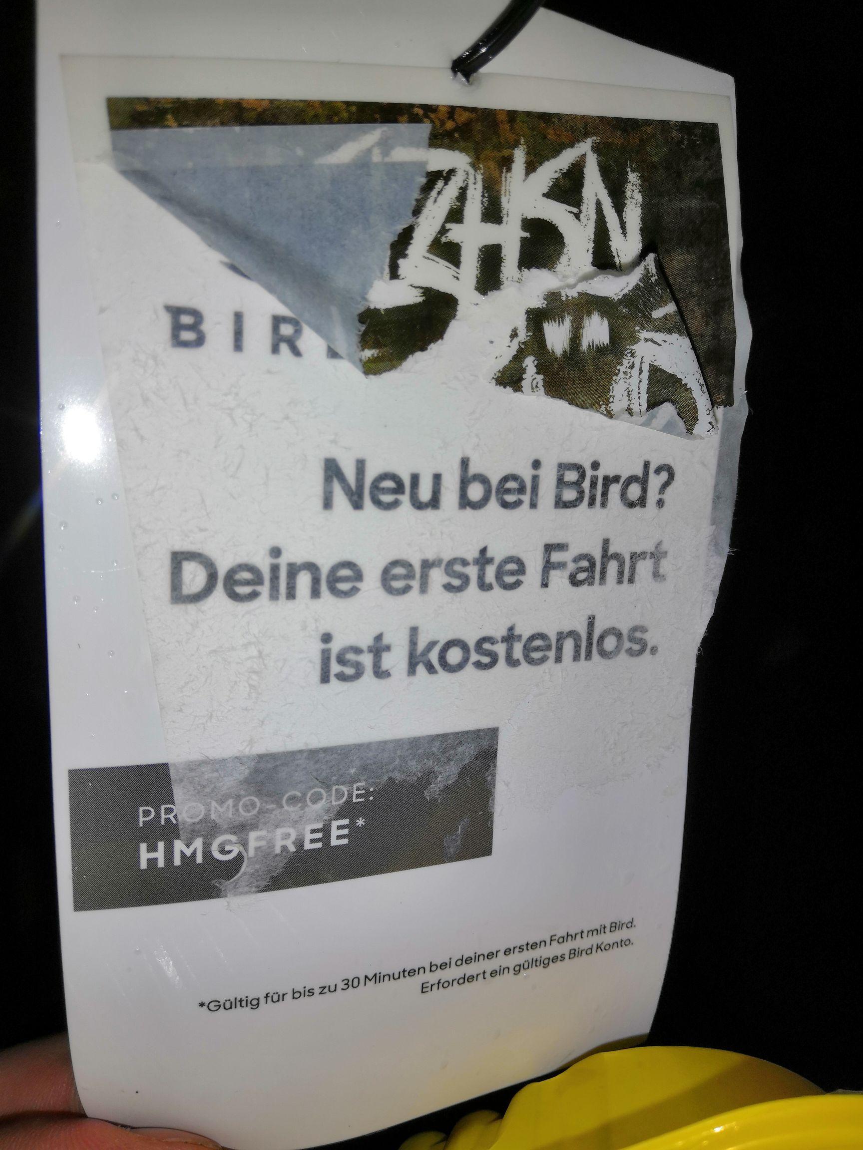 Bird Neukunden Gutschein [Hamburg-vlt auch woanders]