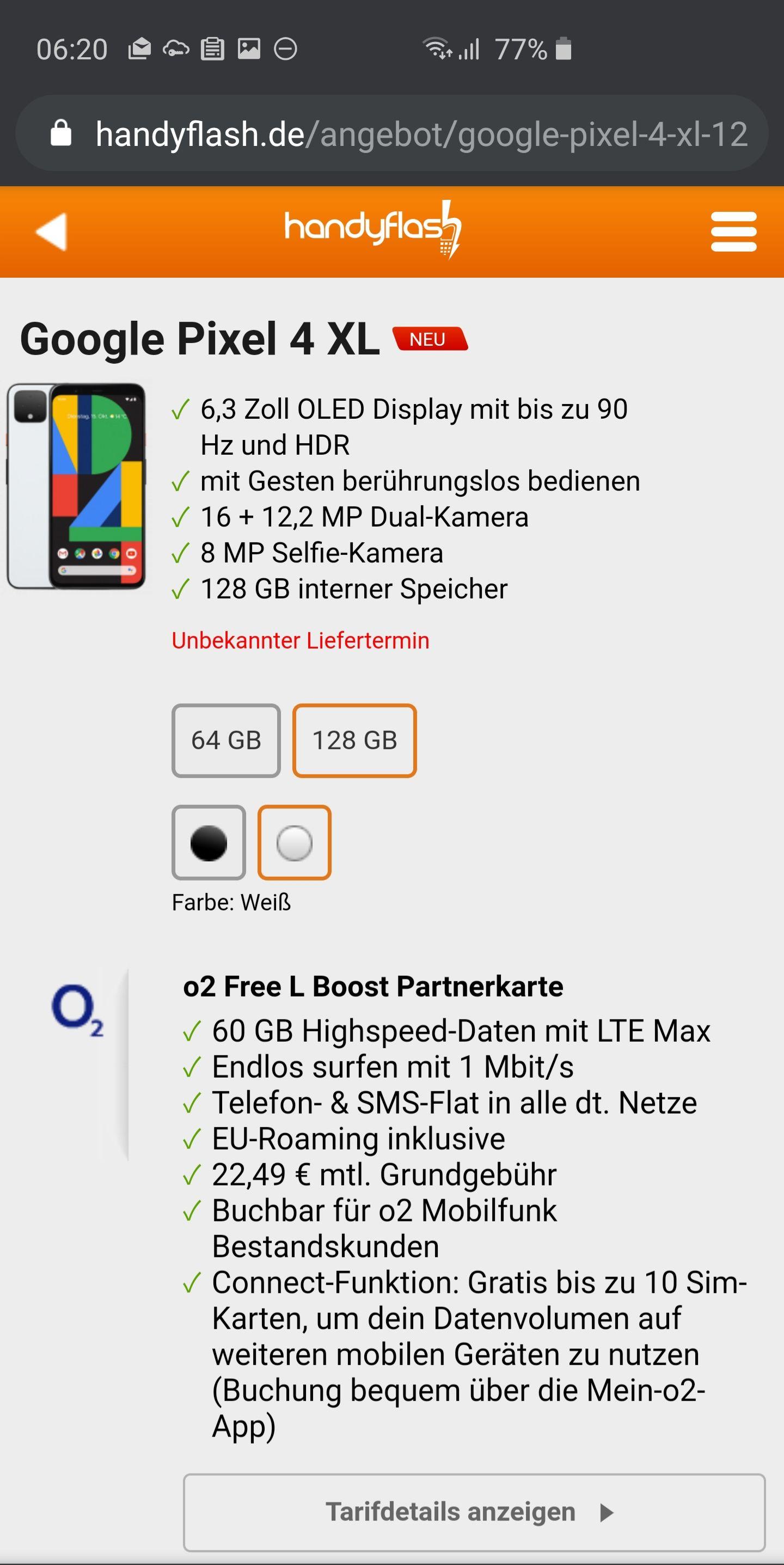 Google Pixel 4 XL mit 128 GB