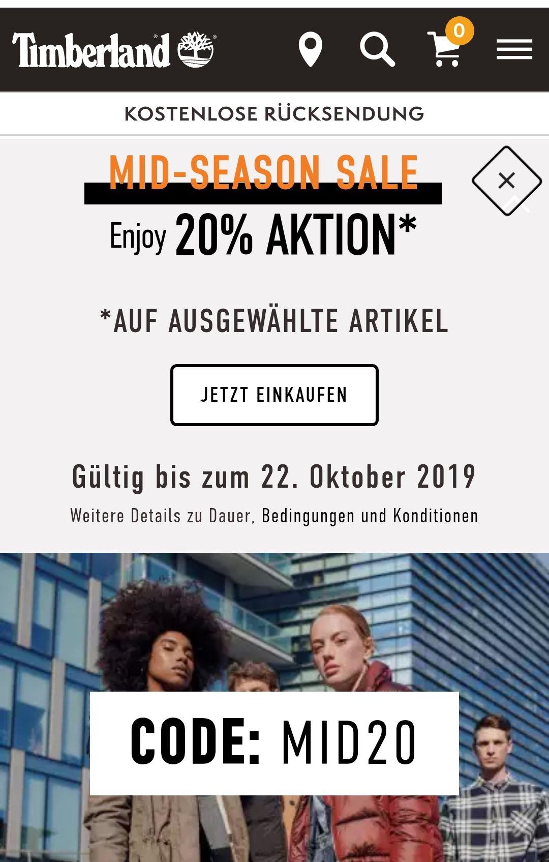 Timberland Mid-Season Sale 20% ausgewählte Artikel