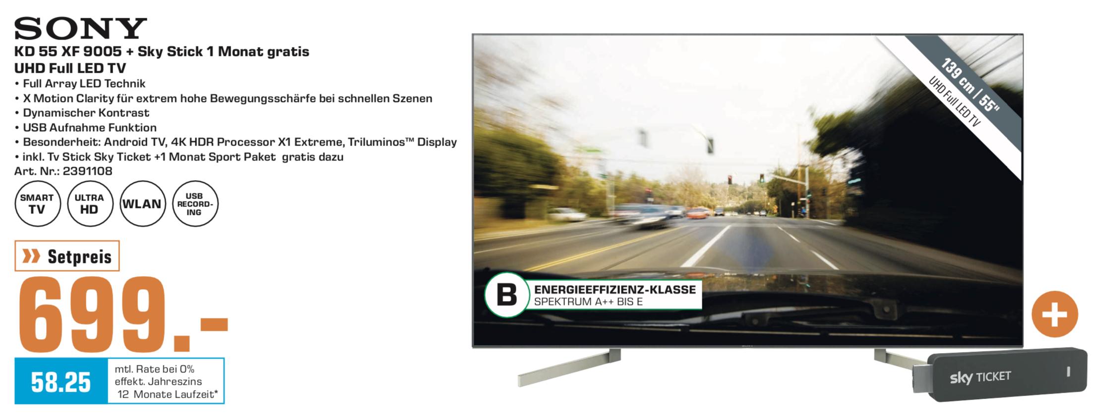 Lokal Saturn Bochum: Sony KD-55XF9005 139cm 4K UHD TV FALD für 699€ inkl. Sky-Stick + 1 Monat gratis Sport-Paket