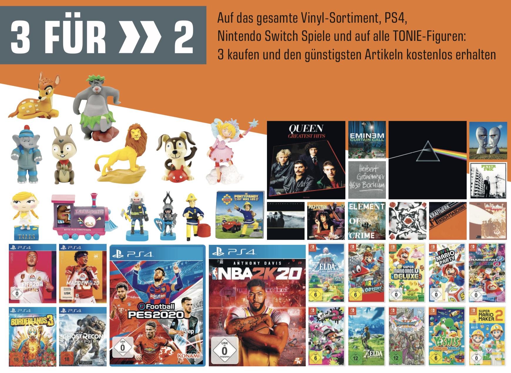 Lokal Saturn Bochum: 3 für 2 auf das gesamte PS4, Nintendo Switch Spiele, Vinyl und Tonie-Figuren Sortiment und weitere gute Angebote!