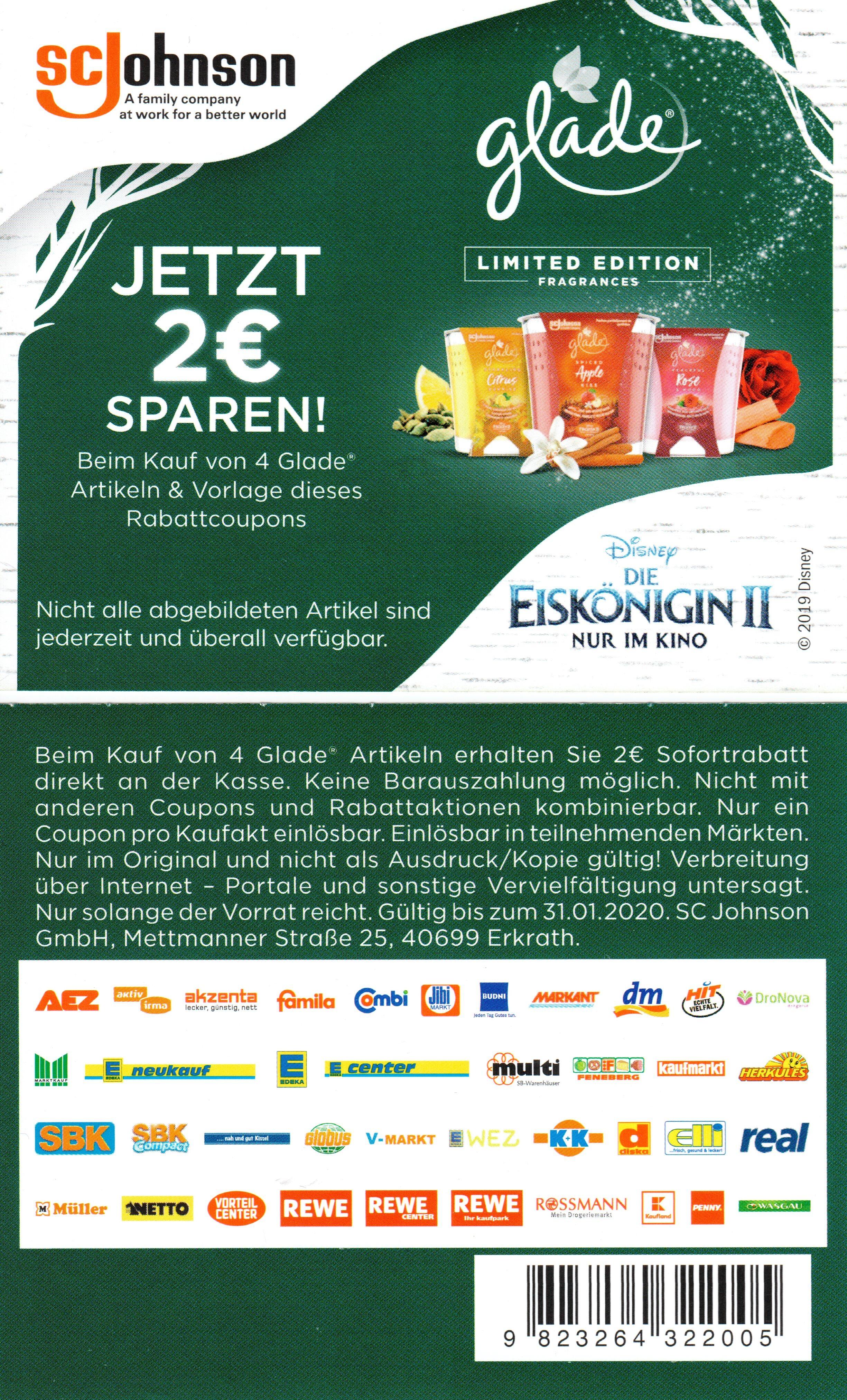 2,00€ Rabatt Coupon für den Kauf von 4x Glade Produkten bis 31.01.2020