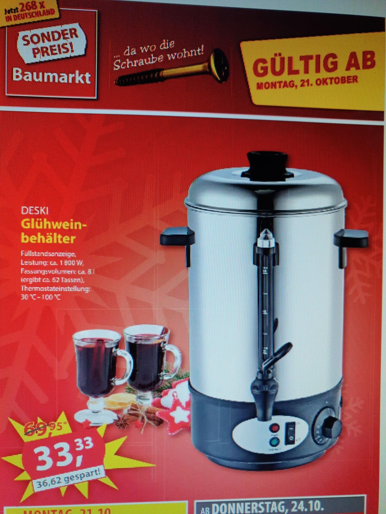 (Sonderpreis Baumarkt) Glühweintopf 8Liter / Edelstahl für 33,33€