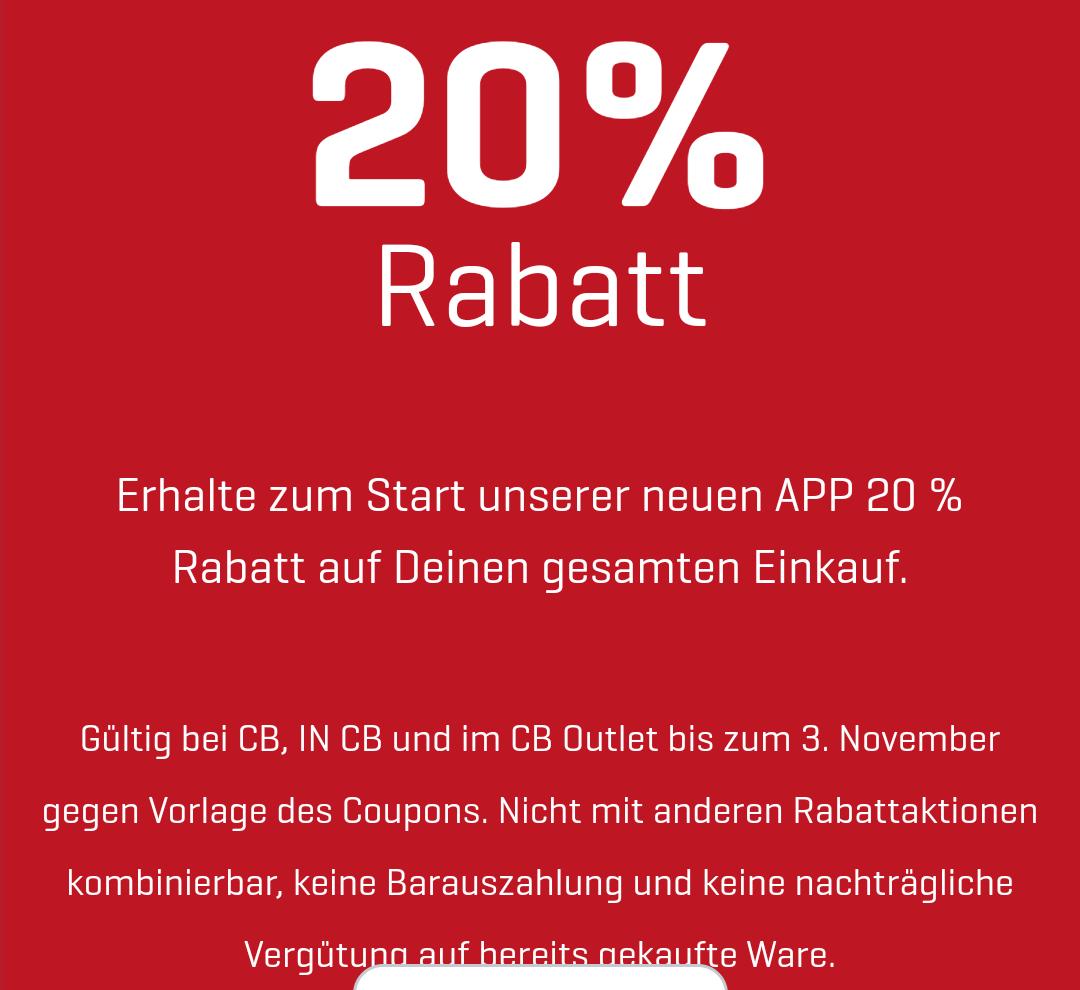 [Lokal] 20% Rabatt - CB Mode - auf alles - kein MBW - beim Download der neuen App