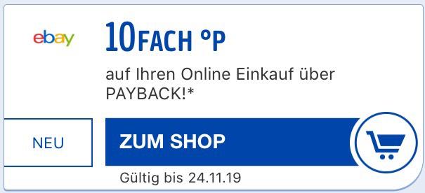 [Personalisiert] Payback 10fach Punkte bei eBay (entspricht 5% Rabatt, evtl. nicht für alle)