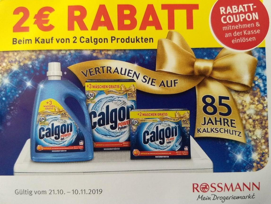 [Rossmann] 2€ Rabatt Coupon für den Kauf von mind. 2 Calgon Produkten bis 10.11.2019