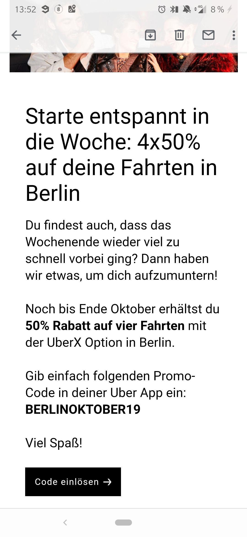 [Lokal Berlin] UBER 4x 50% Rabatt