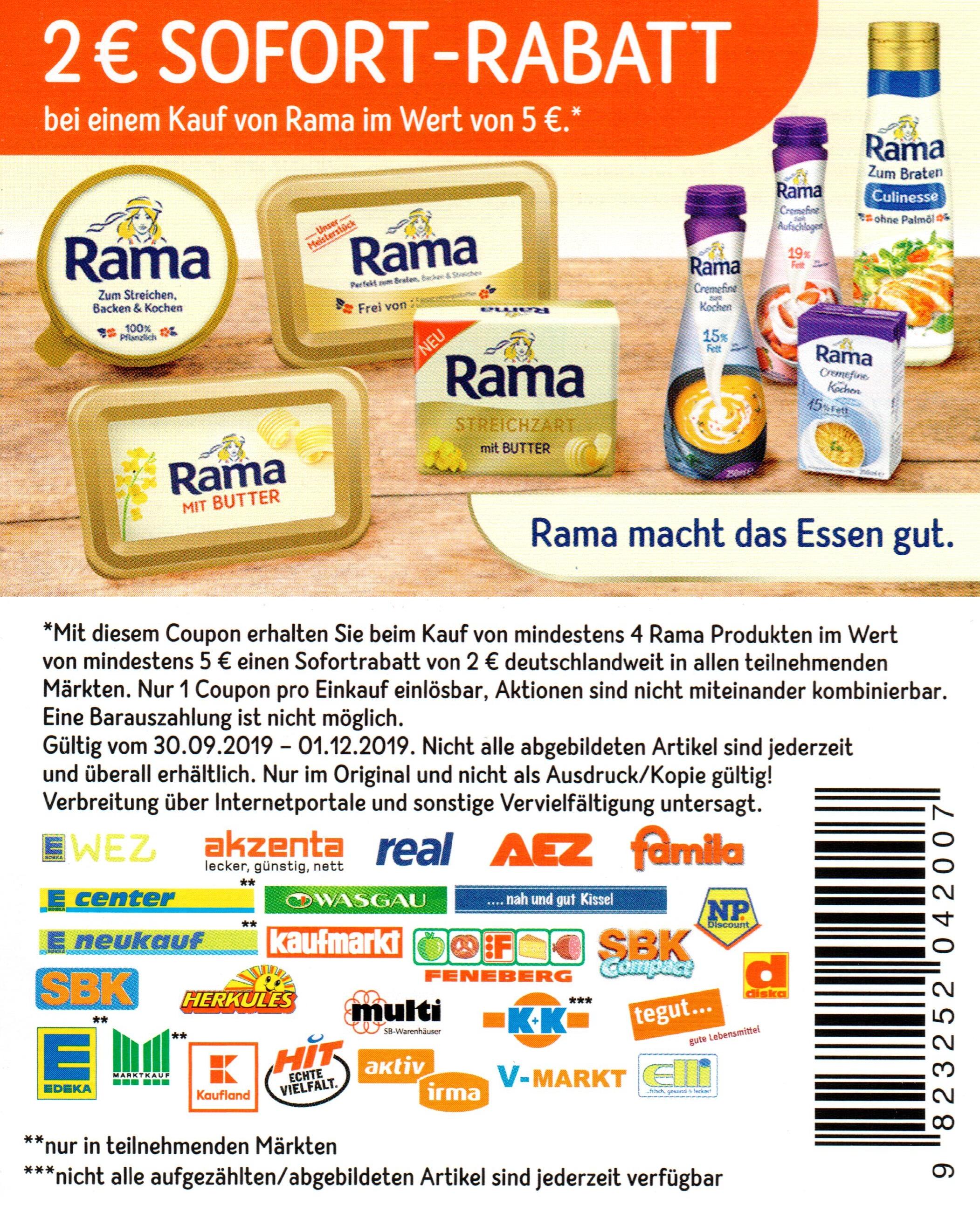 2€ Rabatt Coupon für den Kauf von mind. 4 Rama Produkten im Wert von mind. 5€ bis 01.12.2019