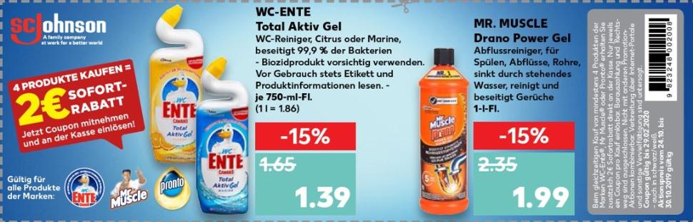 2€ Rabatt Coupon für den Kauf von mind. 4 Produkten von WC-Ente®, Mr. Muscle® und Pronto® bis 29.02.2020 - Beschreibung beachten!