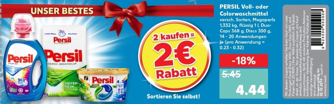 2€ Rabatt Coupon für den Kauf von mind. 2 Packungen Persil (Discs 14WL, Duo-Caps 16WL, Pulver 20WL oder Gel 18WL) bis 30.10.2019