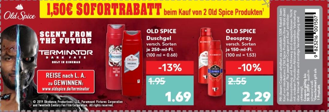 1,50€ Rabatt Coupon für den Kauf von mind. 2 Old Spice Produkten bis 30.10.2019