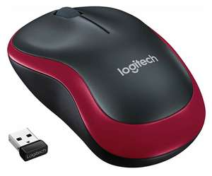 Logitech M185 wireless Maus (USB, kompatibel mit Windows, Mac, Linux) rot [Prime]