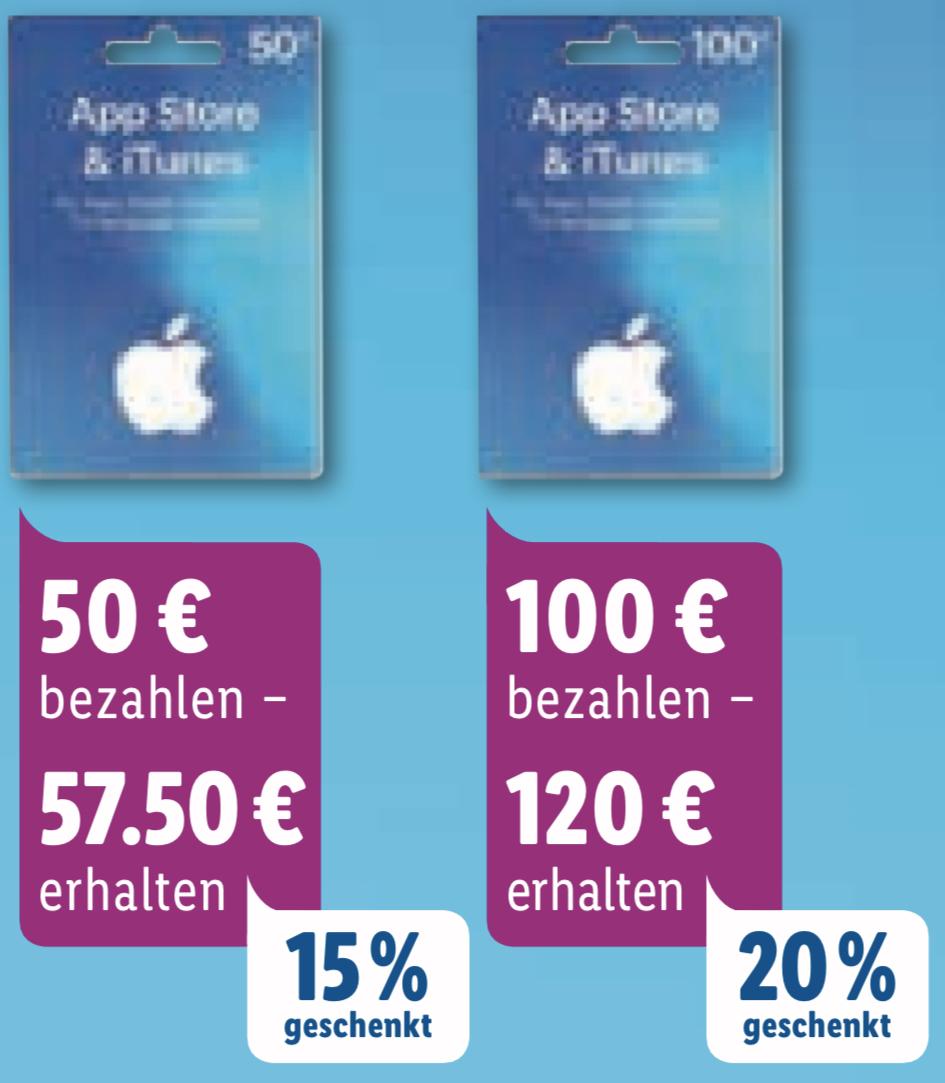 Lidl: Bis zu 20% zusätzliches Guthaben für iTunes & App Store Geschenkkarten - 25€, 50€ u. 100€ - ab 04.11.