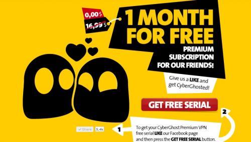 CyberGhost VPN Serial 1 Monat Key Kostenlos
