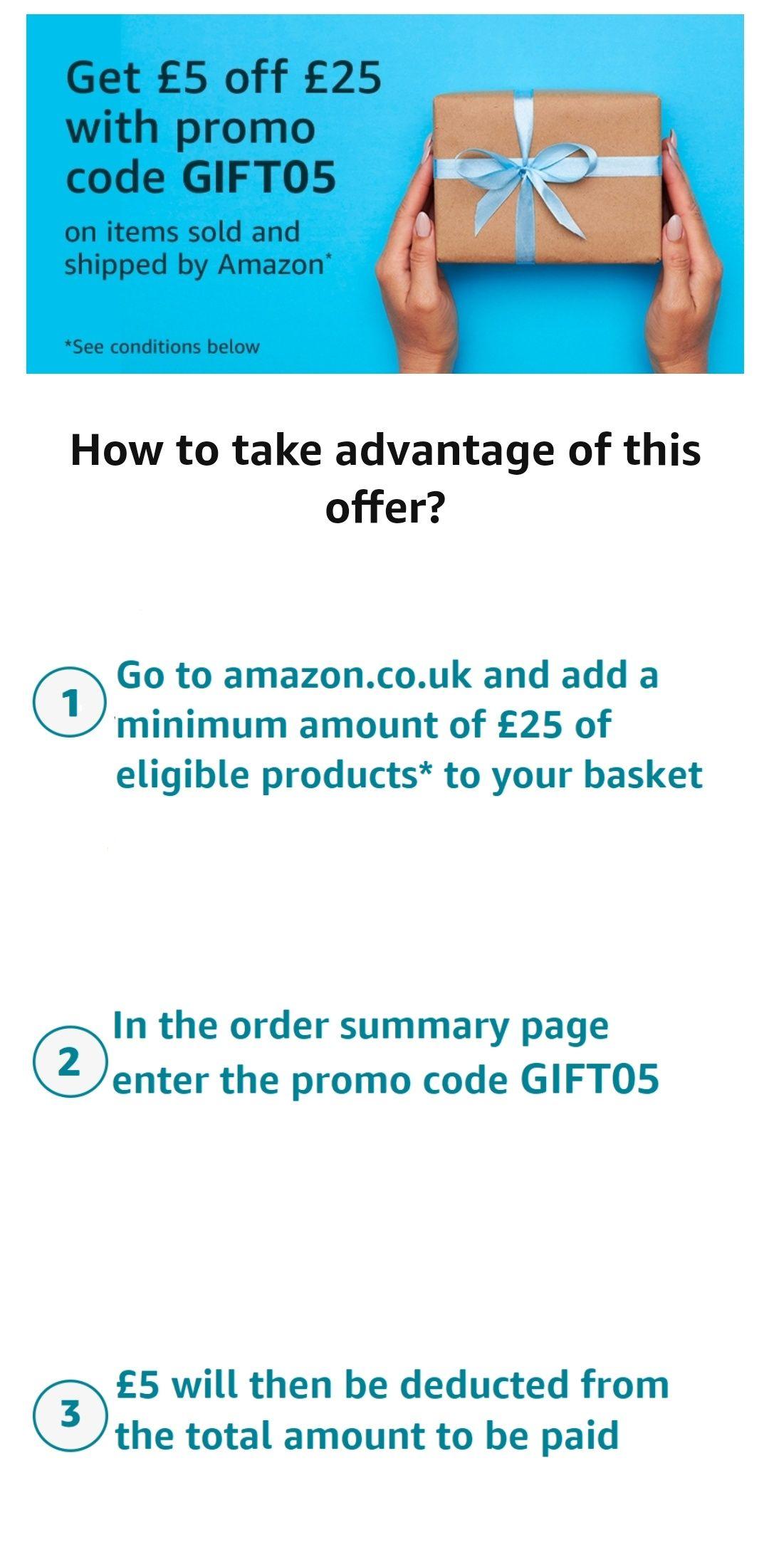 [Amazon.co.uk] 5 pfund Gutschein bei 25 Pfund mbw